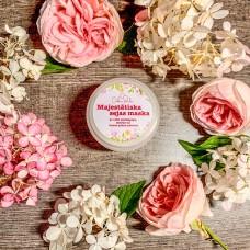 Majestātiskā sejas maska ar piena, medus un rožu ziedlapiņu pulveri